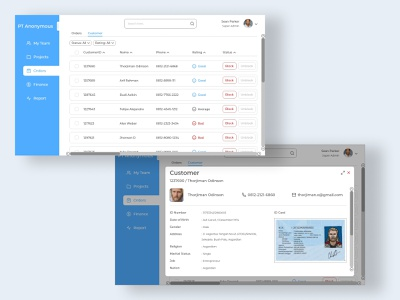 Project Management - Orders reports finance orders projects teams project management desktop ui uiux uidesign 2d