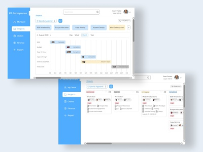 Project Management - Project reports finance orders projects teams project management desktop ui uiux uidesign 2d