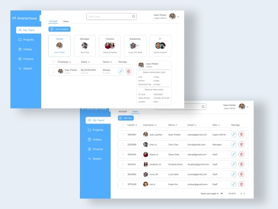 Project Management - Team reports finance orders projects teams project management desktop ui uiux uidesign 2d