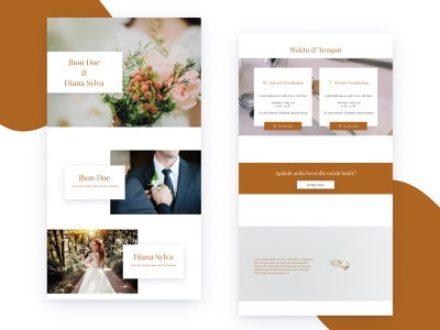 Template 1  - Invitation Web View married couple invitation 2d uidesign design desktop ui uiux
