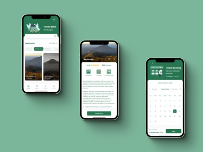 Muncak Apps - Page 1 ticket booking booking app hiking branding illustration logo mobile ui mobile app design uiux uidesign 2d