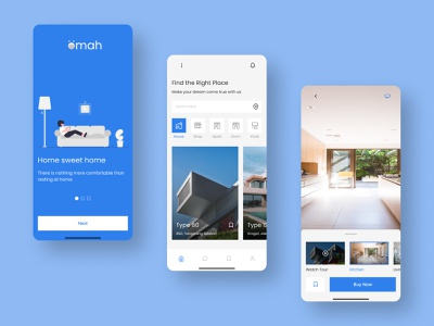 Omah Apps - Property Market Place flat design dormitory shop apartment house property marketing property mobile app branding illustration mobile ui design uiux uidesign 2d