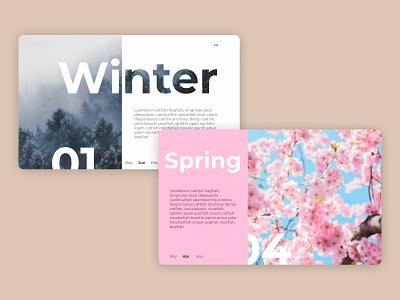 Seasons illustrator photo website print web colors photoshop figma design simple spring winter season