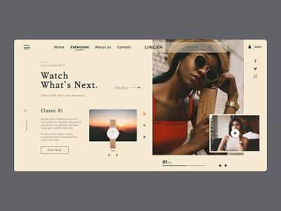 Online Watch Store clock simple shop logo uiux landing page website illustration web photo photoshop figma design