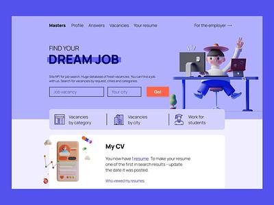 web Site Job search seal job 3d uiux landing page website illustration web photo colors photoshop figma design
