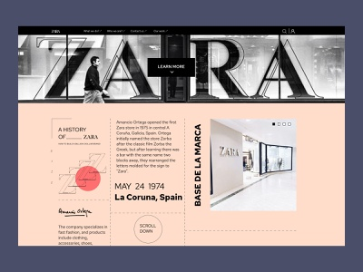 A History of Zara landing page webdesign website designs designer web brand ux ui figma design colors print black photo uiux story store history zara