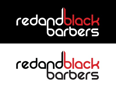 Red and Black Barbers Logo logo design red black