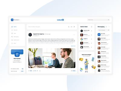 LinkedIn redesign concept illustration figma nickrybak desktop web linkedin design ui flat
