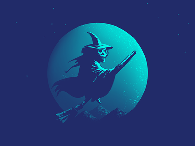 A Discovery of Witches fly skeleton skull hat mountain broom witch star moon illustration