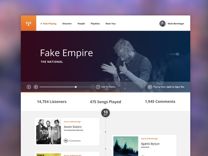 Radio ui user interface radio music player web website orange blue white minimal flat