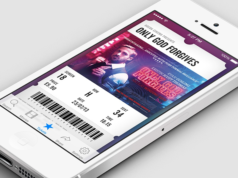 Movie Ticket ui user interface app application ios ios7 ticket movie cinema iphone mobile film