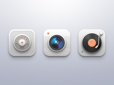 Icons ui icons camera radio turntable record player ios iphone mobile clean set