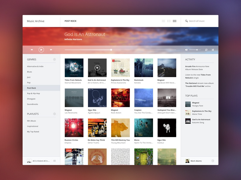 Music Archive ui user interface music archive flat simple minimal player blue red white web