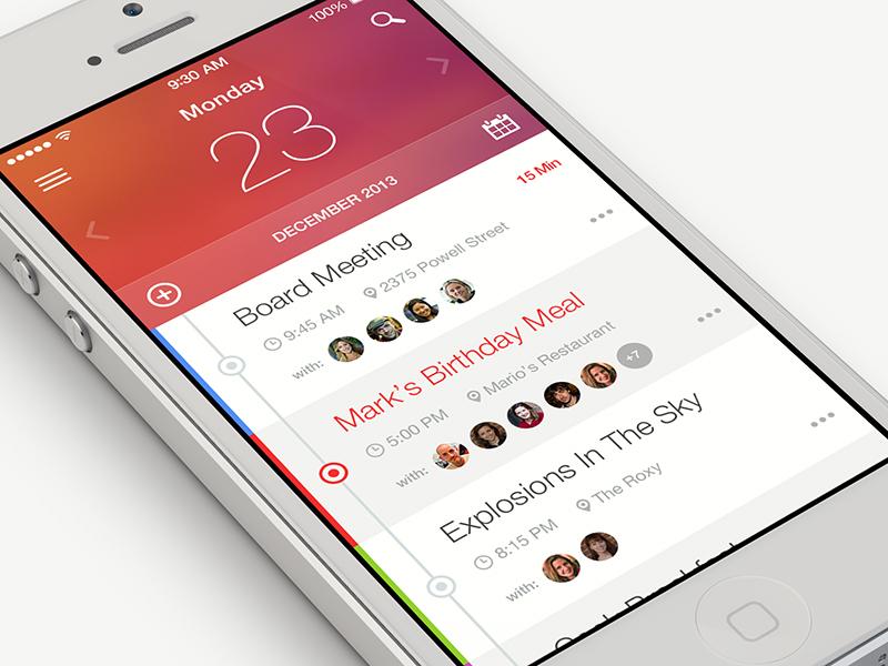 Planner ui user interface mobile flat calendar planner ios app iphone minimal clean ikons
