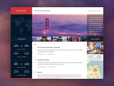 Travel Summary ui user interface flat minimal travel summary simple web white blue layout app