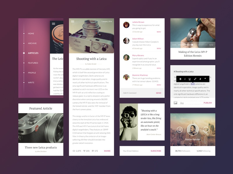 Blog ui user interface blog post minimal simple flat mobile white sidebar menu web