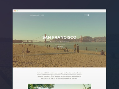 Photoblog ui user interface blog photo photography pictures images minimal simple responsive white travel