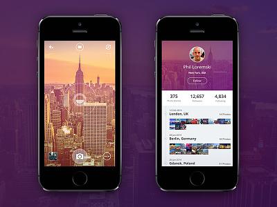 Camera App ui user interface camera profile flat minimal mobile ios timeline app photo iphone