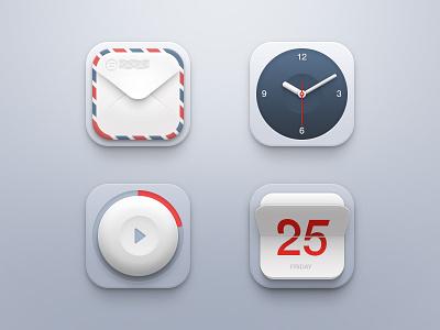 Mini Icon Set ui icon icons set mail envelope clock player calendar ios iphone app