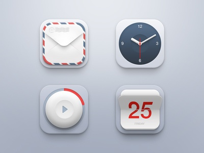 Mini Icon Set ui icon icons set mail envelope clock player calendar ios iphone app