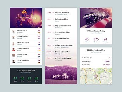 F1 App ui user interface f1 formula one flat minimal simple app mobile white map timeline
