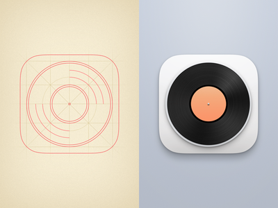 VinylPlayer Icon icon icons record vinyl player music minimal simple ios app clean vinylplayer