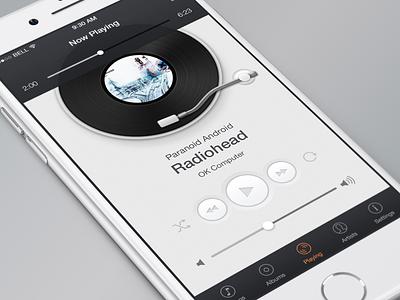 VinylPlayer ui user interface ios app minimal music player record simple clean vinyl vinylplayer