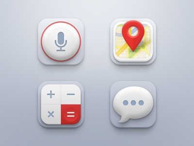 Mini Icon Set ui icon icons set ios iphone app record button map calculator messages