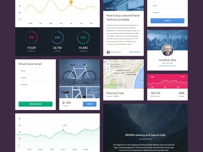 UI Elements (Sketch) ui user interface flat minimal simple sketch graph chart article profile email layout