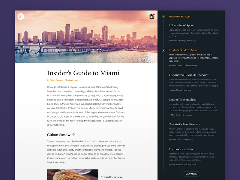 Article Page article layout timeline menu sidebar post blog simple minimal flat user interface ui
