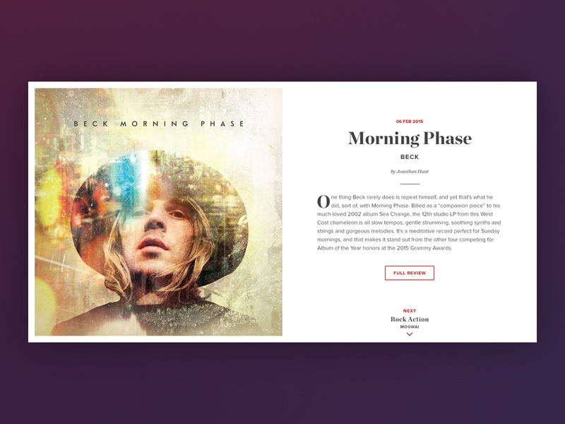 Album Reviews minimal flat layout web article preview typography record album music user interface ui