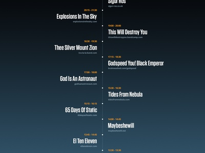 Festival Line Up app website timeline layout simple minimal flat line up music festival user interface ui
