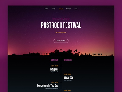 Festival Line Up app website timeline layout simple minimal flat line up music festival user interface ui