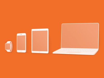 Devices illustration simple macbook ipad iphone watch apple device set icons user interface ui