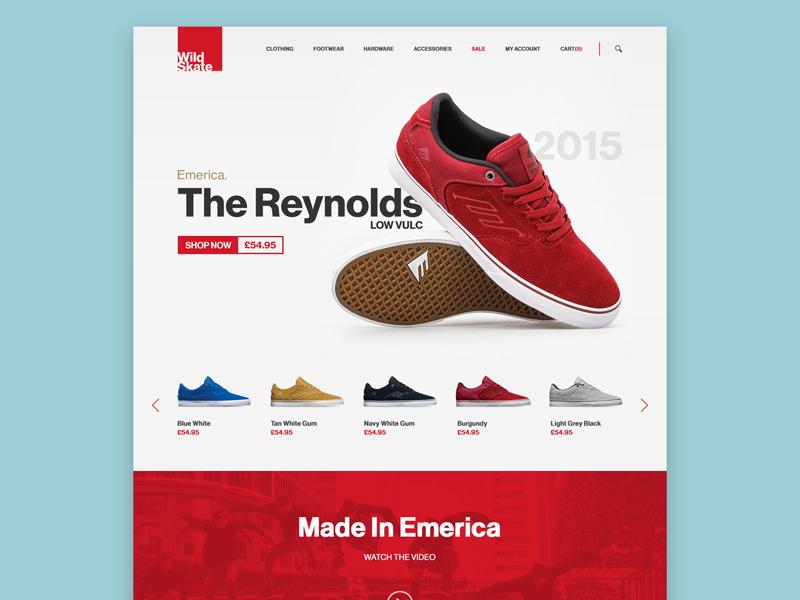 Landing Page product landing shop store skate website layout minimal simple flat user interface ui