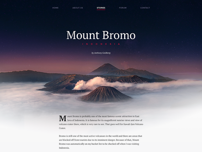 Stories ux post blog travel simple minimal layout flat page website user interface ui