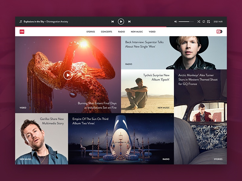 RPM clean player ux single page minimal website radio music layout grid user interface ui