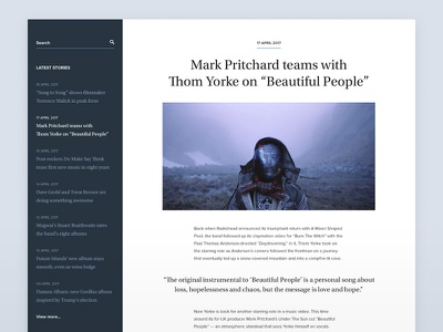 Article Feed grid minimal post menu timeline typography sidebar layout blog article user interface ui