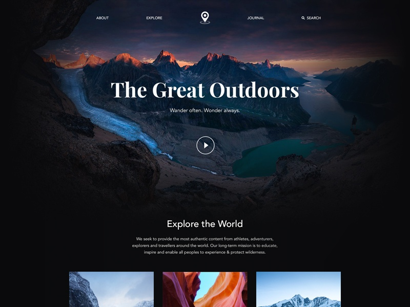 The Great Outdoors typography landing page minimal flat photography ux travel layout website user interface ui