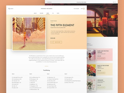 Record Store website store records music shop product minimal layout landing flat user interface ui
