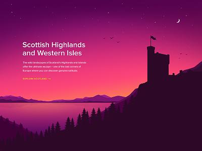 Scotland (Illustration) water moon night dark castle stars forest mountain landscape vector illustration