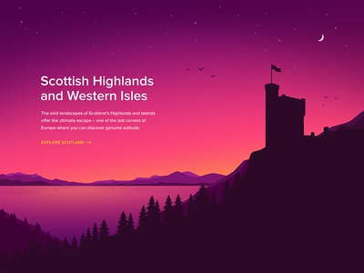 Scotland (Illustration) water moon night dark castle stars forest mountain landscape vector illustration
