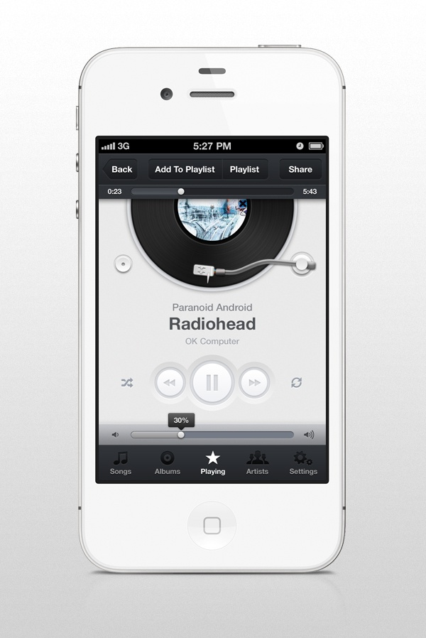 Music app ui iphone