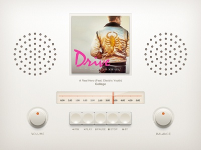 Retro Music Player braun dieter rams retro ui user interface buttons knob button psd