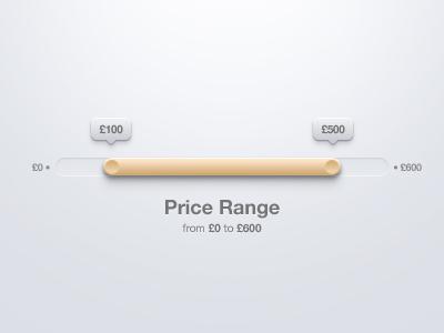 Range Selection user interface ui slider price range
