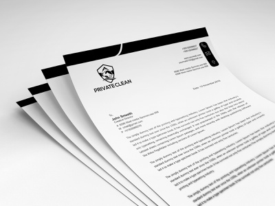 Black and White Letterhead graphic card business flyer company branding letterhead resume cv design