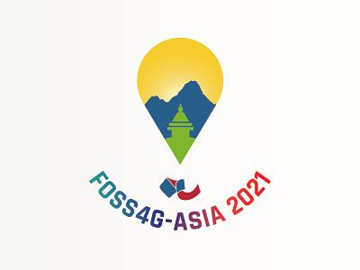 FOSS4G- Asia 2021 illustration bhajumahesh nepali design design vector logo design branding visual identity logo foss4g