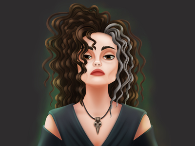 Belatriz Lestrange illustraion character dark witch magican lestrange hogwarts belatriz curly hair