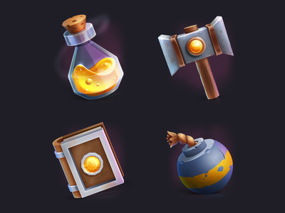 Casual game's icon set iron glass wood yellow liquid ancient book potion bottle hammer bomb items tools games design icon set game art game