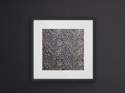 Gold Purplish Flower Doodle Art